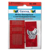 """Гамма NC-208 """"Gamma"""" Иглы бисерные сталь NC-208 d 0.34 мм 12 шт с двумя нитковдевателями"""