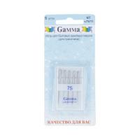 """Gamma NT № 75 Иглы для быт. шв. машин """"Gamma"""" NT № 75 для трикотажа 5 шт в блистере М"""