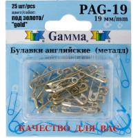 Гамма PAG-19 Булавки английские под золото в блистере