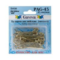 "Gamma PAG-45 Булавки английские ""Gamma"" PAG-45 под золото в блистере 25 шт 45 мм"