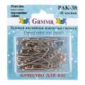 Гамма PAK-038 Булавки английские  изогнутые, под серебро в блистере