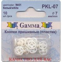 Гамма PKL-07 Кнопки пришивные пластик №01 белый