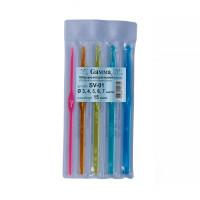"""Гамма SV-01 Для вязания """"Gamma"""" SV-01 набор крючков пластик d 3.0 - 7.0 мм 15 см 5 шт в чехле 3; 4; 5; 6; 7 мм"""