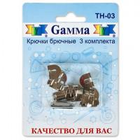 """Гамма TH-03 Крючки для брюк """"Gamma"""" TH-03 13 мм в блистере 3 шипа 3 шт.никель"""