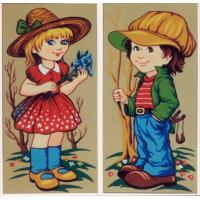 Gobelin L, Diamant D.291 Девочка с голубыми цветами и мальчик
