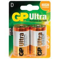 GP 13AU-CR2 Батарейки GP Ultra, D (LR20, 13А), алкалиновые, комплект 2 шт., в блистере, 13AU-CR2