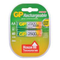 GP 250AAHC-2DECRC2 Батарейки аккумуляторные GP, АА, Ni-Mh, 2500 mAh, комплект 2 шт., в блистере, 250AAHC-2DECRC2