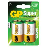 GP  Батарейки GP Super, D (LR20, 13 А), алкалиновые, комплект 2 шт., в блистере