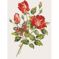 Grafitec 10.468 Канва жесткая с рисунком GRAFITEC 10.468 Красные розы и бабочка 30 x 40 см