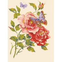 Grafitec 10.469 Канва жесткая с рисунком GRAFITEC 10.469 Розовые розы и бабочки  30 x 40 см