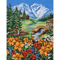 """Grafitec 11.869 Канва жесткая с рисунком GRAFITEC 11.869 """"Весна в горах"""" Панно 50х40 см, Пейзаж"""