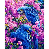 Grafitec 11.882 Канва жесткая с рисунком GRAFITEC 11.882 Голубые попугаи 50 х 40 см