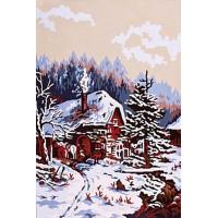 Grafitec 6.138 Канва жесткая с рисунком GRAFITEC 6.138  Заснеженный домик 22 x 30 см