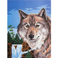 """Grafitec серия 10.000 Канва/ткань с рисунком """"Grafitec"""" серия 10.000 50 см х 40 см 10.487 Портрет волка"""