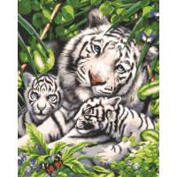 """Grafitec серия 11.000 Канва/ткань с рисунком """"Grafitec"""" серия 11.000 60 см х 50 см 11.881 Белый тигр и детеныши"""