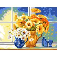 """Grafitec серия 11.000 Канва/ткань с рисунком """"Grafitec"""" серия 11.000 60 см х 50 см 11.887 Желтые и белые маргаритки"""