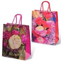 """GRANDGIFT  Пакет подарочный ламинированный, 18x23x10 см, """"Цветы"""", ассорти"""
