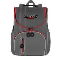 GRIZZLY RAm-185-2/3 Ранец GRIZZLY школьный, анатомическая спинка, на ножках, для мальчиков, серый, 33х25х13 см, RAm-185-2/3