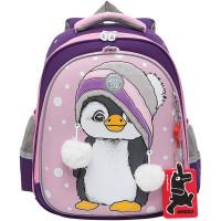 "GRIZZLY RAz-186-4/1 Ранец GRIZZLY школьный, укрепленные лямки, для девочек, ""Пингвин"", 36х28х20 см, RAz-186-4/1"