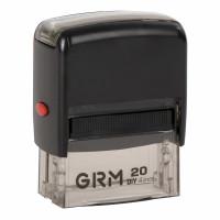 GRM 116000010 Штамп самонаборный 4-строчный, оттиск 38х14 мм синий, без рамки, GRM 20, КАССА В КОМПЛЕКТЕ, 116000010