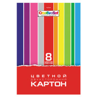 """HATBER 8Кц4_05934 Картон цветной А4 2-сторонний МЕЛОВАННЫЙ, 8 листов, 8 цветов, в папке, HATBER, 195х280 мм, """"Creative Set"""", 8Кц4, 8Кц4_05934"""
