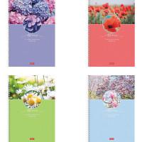 """HATBER 96Т4В1гр Тетрадь А4 96 л. HATBER гребень, клетка, обложка картон, """"Красота цветения"""" (4 вида в спайке), 96Т4В1гр"""