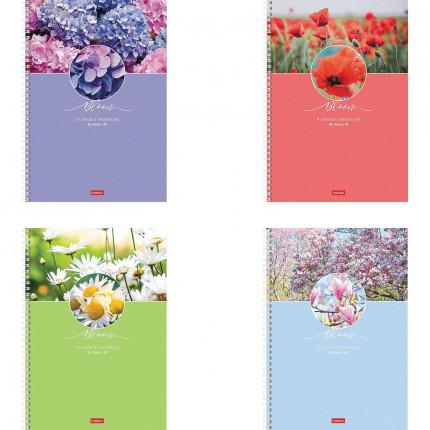 "Тетрадь А4 96 л. HATBER гребень, клетка, обложка картон, ""Красота цветения"" (4 вида в спайке), 96Т4В1гр (арт. 96Т4В1гр)"