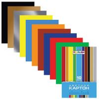 """HATBER N049600 Картон цветной А4 МЕЛОВАННЫЙ, 10 листов 10 цветов, в папке, HATBER, 195х280 мм, """"Creative"""", 10Кц4 05809, N049600"""