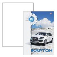 HATBER N049709 Картон белый А4 МЕЛОВАННЫЙ, 10 листов, в папке, HATBER, 205х295 мм, Белая машина, 10Кб4 05807, N049709