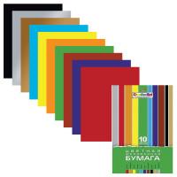 """HATBER N050842 Цветная бумага А4 мелованная, 10 листов 10 цветов, в папке, HATBER """"Creative"""", 195х280 мм, 10Бц4м 05930, N050842"""