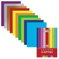"""HATBER N138007 Картон цветной А4 2-сторонний МЕЛОВАННЫЙ, 10 листов 10 цветов, папка, HATBER, 195х280 мм, """"Creative"""", 10Кц4 05934, N138007"""