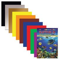 """HATBER N138021 Картон цветной А4 2-сторонний МЕЛОВАННЫЙ, 10 листов 10 цветов, папка, HATBER, 195х280 мм, """"Подводный мир"""", 10Кц4_04109, N138021"""