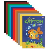 """HATBER N217269 Картон цветной А4 МЕЛОВАННЫЙ, 10 листов 10 цветов, в папке, HATBER VK, 195х290 мм, """"Рыбка"""", 10Кц4 03230, N217269"""