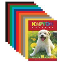 """HATBER N217276 Картон цветной А4 МЕЛОВАННЫЙ, 10 листов 10 цветов, в папке, HATBER VK, 195х290 мм, """"Белый щенок"""", 10Кц4 03414, N217276"""