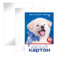HATBER N234884 Картон белый А4 МЕЛОВАННЫЙ, 10 листов, в папке, HATBER VK, 205х295 мм, Белый щенок,10Кб4 15023, N234884