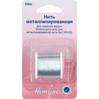 """Hemline 00000034808 Нить металлизированная """"Hemline"""" 242.S, 100 м, серебристый"""