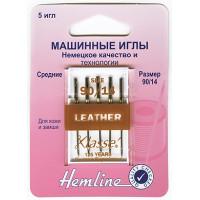 """Hemline 104,90 Иглы """"Hemline"""" 104.90 для бытовых швейных машин 5 штук, кожа"""