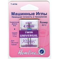 Hemline 110,40 Иглы для бытовых швейных машин двойные универсальные 4.0/80