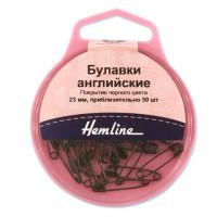 Hemline 414.00 Булавки английские безопасные, 23 мм, металл, черные, 50 шт.