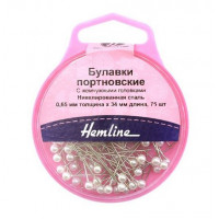 Hemline 676 Булавки портновские с жемчужными головками«Hemline» 676  34 мм, 75 шт., белый
