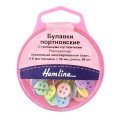 Hemline 720 Булавки портновские с головками-пуговичками, 46 мм, 50 шт., разноцветные