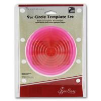 """Hemline ERGG06.PNK Лекало прозрачное для квилтинга """"Круги"""",набор из 9 шт, пластик, цвет розовый"""