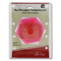 """Hemline ERGG07.PNK Лекало прозрачное для квилтинга """"Шестиугольники"""",набор из 9 шт, пластик, цвет розовый"""