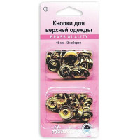 Hemline Кнопки для одежды HEMLINE 405R.G золото, металл 15 мм, 12 шт. Кнопки для одежды HEMLINE 405R.G золото, металл 15 мм, 12 шт.