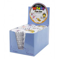 Hemline PT.PINSTINS.DB Булавки - гвоздики WACKY PIN TIN в жестяных круглых коробочках ,30шт.в картонном дисплее