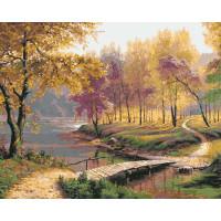 Hobruk  558950 HS0201 Набор для рисования по номерам 'Мост через реку в парке' 40*50см