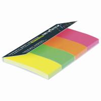 INDEX I441810 Закладки клейкие бумажные INDEX, НЕОНОВЫЕ, 50х20 мм, 4 цвета по 40 листов, I441810