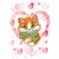 Искусница 8223 Рисунок на канве «Искусница» 8223 Влюбленный котик 16*20 см