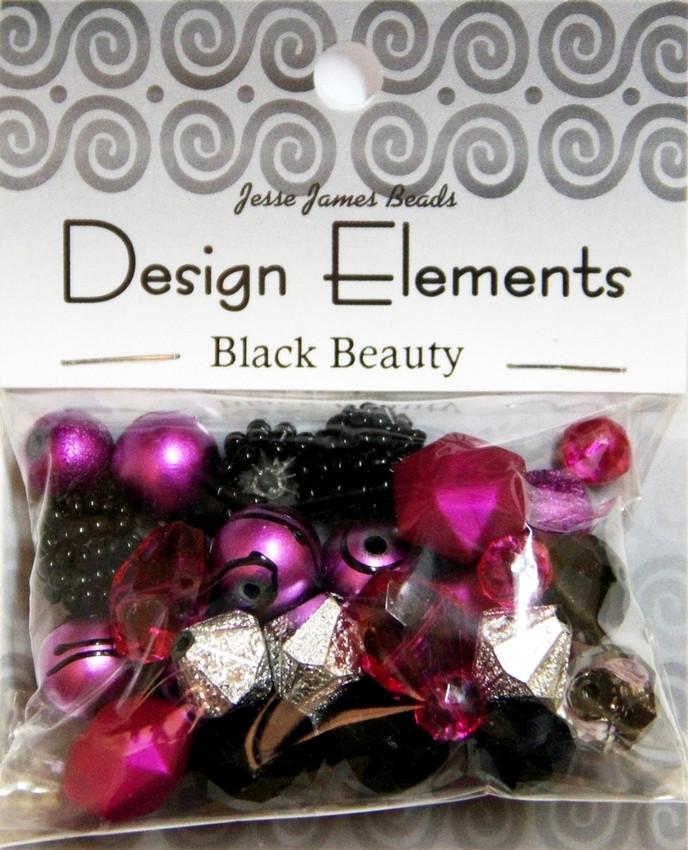 """Набор декоративных бусин """"Design Elements"""" 5908 Чёрный Красавчик"""