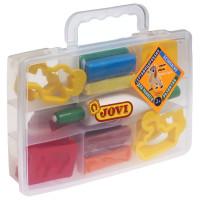 JOVI 230 Пластилин JOVI (Испания), набор, 8 цветов, 200 г, 12 форм, 3 стека, скалка, пластиковый чемодан, 230